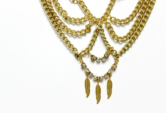 Chain Collar with Feather Charms