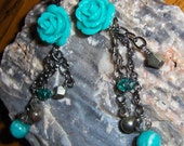 Rose Earrings, Teal Earri...