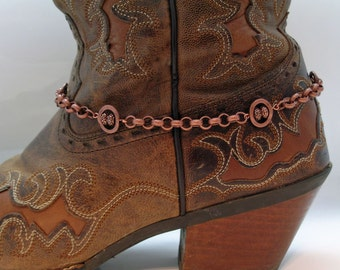Copper and Crystal Boot Bracelet