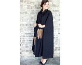 Vintage cape, wool cape, fox tail, black woolen cape, C'est Simone, evening wrap, dress coat, Size M