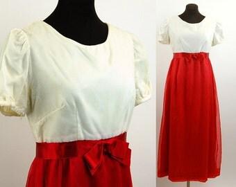 1960s formal dress, velvet dress, chiffon skirt, red white, empire waist, bow at waist, puffed sleeves, Size M