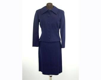 1950s wool suit, skirt suit, navy blue suit, fitted jacket, a line skirt, Size M