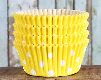 Yellow Polka Dot Cupcake Liners, Yellow Cupcake Wrappers, Cupcake Cases, Stay Bright Greaseproof Cupcake Liners, Yellow Baking Cups (50)