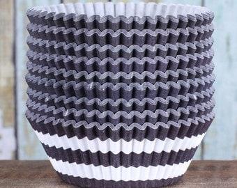 Black Stripe Cupcake Liners, Rugby Stripe Liners, Black Cupcake Liners, Cupcake Cases, Stay Bright Greaseproof Cupcake Liners (50)