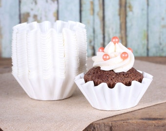 Small White Baking Cups, Wedding Cupcake Cups, Small Dessert Cups, Brownie Cups, Small White Baking Cups (set of 25)