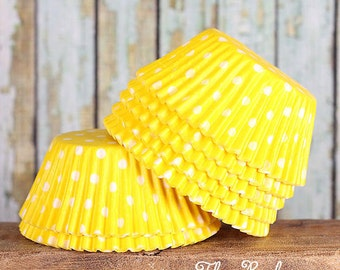 Yellow Polka Dot Cupcake Liners, Yellow Cupcake Wrappers, Yellow Cupcake Cases, Yellow Baking Cups, Muffin Cases, Cupcake Baking Cups (50)