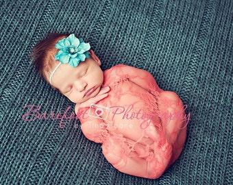 Baby Girl Headband, Turquoise Flower, Newborn Girl Photo Prop, Skinny Elastic Headband, Baby Girl Props, Dainty Headband, Photography Prop