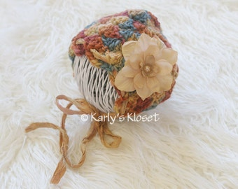 Newborn Bonnet, Fall Colors, Girls Photo Prop, Newborn Prop Hat, Baby Girl Bonnet, Newborn Props