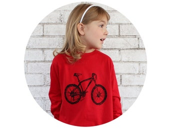 Bicycle Tshirt, Long Sleeved Mountain Bike Tshirt, Hand Printed Screenprinted Shirt, Red T shirt, Cotton Youth Clothing, Children