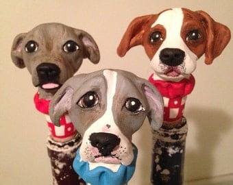 Three  Custom Dog Stoppers