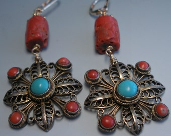Antique Coral Turquoise and Filigree Earrings Chinese