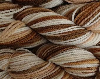 Handpainted Merino Wool Worsted Weight Yarn in Rootbeer Float White Brown