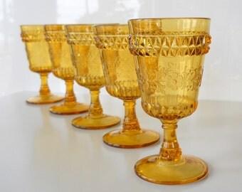 Vintage Adams Glass Wildflower Amber Water Goblets, Set of Five