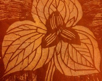 Trillium Linoleum Block Print