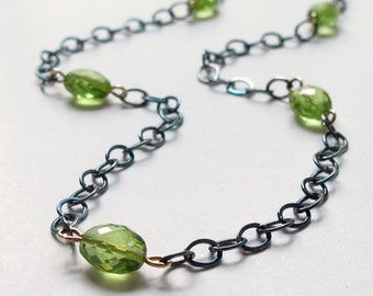 Peridot Layering Necklace 18k Sterling