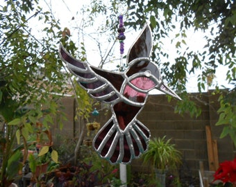 Stained Glass Hummingbird - Suncatcher -Handmade - Purple - Birthday - House Warming - Mothers Day - Fathers Day - Window Decor - Gift