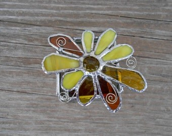 Stained Glass Box with Flower - Amber - Yellow - Keepsake - Trinket box