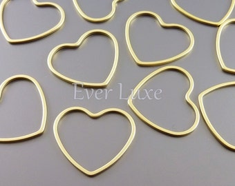 4 heart pendants, 21mm open heart charms for earrings, necklaces, jewelry / jewellery supplies 950-MG-21