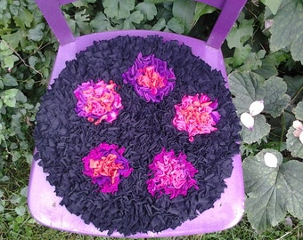 seat cushion, rag rug ,seat pad,fuchsia flowers, chair cushion, upcycled pillow