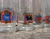 Mid Century English Pub Barware Lowball Glass Bar Set of Four