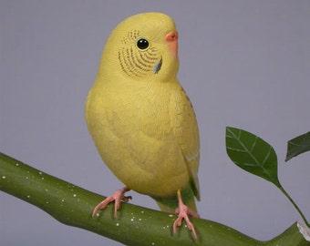 6-3/4 inch Budgerigar (yellow) Hand Carved Wooden Bird