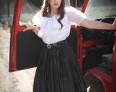 Stephanie Queller skirt - Full Black skirt with petticoat - Vintage Black Designer's skirt from the eighties