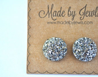 Faux Druzy Stone Earrings - Gunmetal - Dark Silver - Buy 3, get 1 FREE