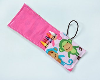 Children Valentine Favor, Crayon Holder Roll, Crayon Wrap Birthday Party Favor Monkeys, Baby Toy, Rollup, Crayon Roll Ups