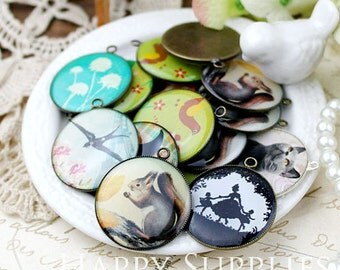 30Pcs 25mm (A25) Round Handmade Resin Pendants with Antique Bronze Pendant Setting - Big Sale - Clearance Sale