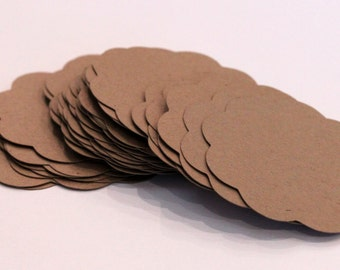 50 Scallop Tags Kraft Paper Gift Tag 2 inch READY TO SHIP Scrapbooking Journaling Spots Supply Thank you Card Stock Die Cuts Label Craft