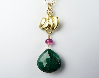 Emerald and Sapphire Necklace with a Genuine Faceted Forest Green Emerald and a Translucent Vivid Pink Sapphire, Gold Leaf Charm and Chain