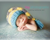 Elf Hat in Sky Blue, Yellow, and Gray with Short Fringe Tail