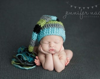 Baby Boy Elf Hat in Aqua,Grey, Lime, and Black with a Fringe Tail
