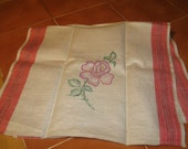 Linen and Cotton Tea Towel - hand embroidered, housewarming gift