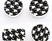 Broken Plate  - Magnets - Black and White -  Houndstooth Pattern - Set of 4 -