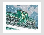 greenbay packers lambeau field snow wisconsin football nfl green and gold photo-graphic art print