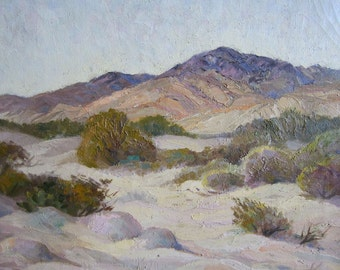 vintage PALM SPRINGS plein air oil painting landscape signed Carillo