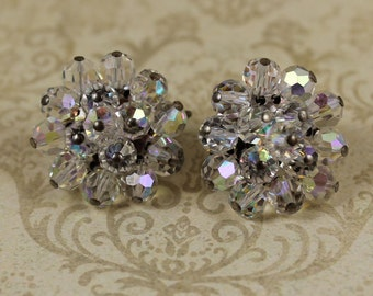 Vintage Clear Crystal AB Beaded Cluster Clip On Earrings