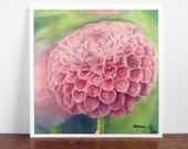 pink flower botanical art print, flower watercolor painting, pink hearts and green decor, girls nursery wall art