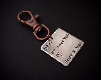 Dad keychain from children hand stamped