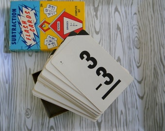 Vintage 1960s Box of Subtraction Flash Cards