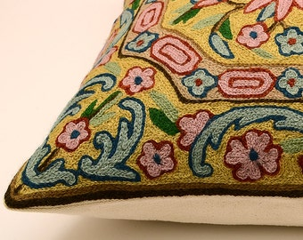 Floral handmade embroidered 16x16 pillow cover, pink, green, brown