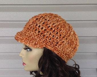 Newsboy Cap Visor Brim Hat, Crochet Knit Hat Fashion Womens Baseball Driver Hat, Brim Visor Newsboy knit Hat, Perfect GIFT Brim Hat NY Style