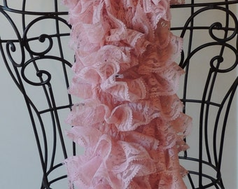 CLEARANCE SALE! Light Pink Lace Fabric Knitted Ruffled Scarf Breast Cancer Awareness