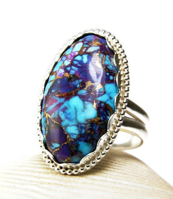 Sterling Silver Purple Turquoise Ring Bronze Mohave Big
