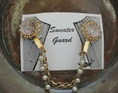 Sweater Clip/Guard Gold Tone With Pink Flowers FREE SHIPPING