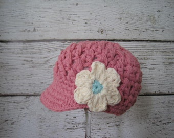 Rose Pink Newsboy Hat, Newborn Baby Girls,Baby visor Hat with Flower