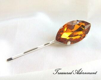 Burnt Orange Marquis Rhinestone Hair pin, Orange Rhinestone, Silver pin, Fall Autumn hair pin accessory, Bridesmaids Hair pin