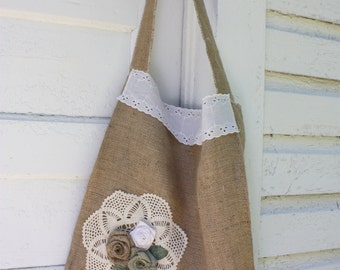 Handmade Large Burlap tote,Shabby cottage,with doilie and lace