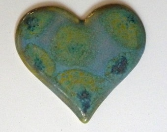 Heart  Brooch withI Blue Green Polka Dots